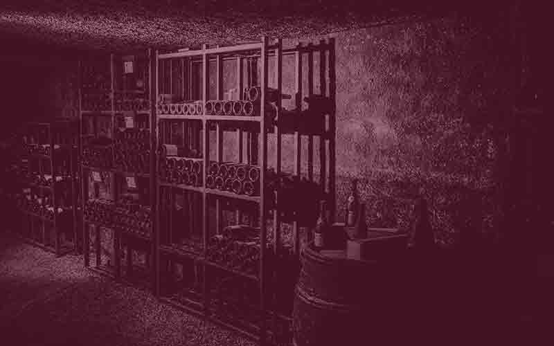 Old wine bottles stored in a cellar