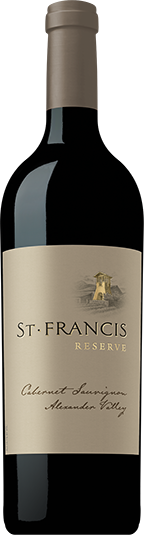 Bordeaux shaped bottle of St. Francis Reserve Cabernet Sauvignon from Sonoma County California